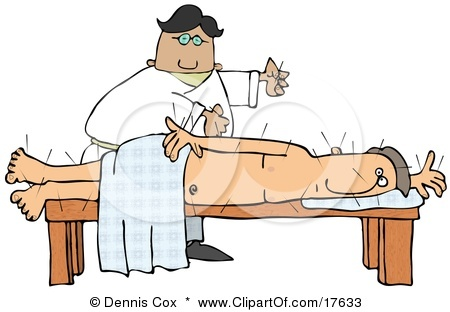 17633-Male-Chinese-Acupuncturist-Doctor-Preparing-To-Insert-Another-Acupuncture-Needle-Into-A-Male-Caucasian-Patients-Back-Clipart-Illustration